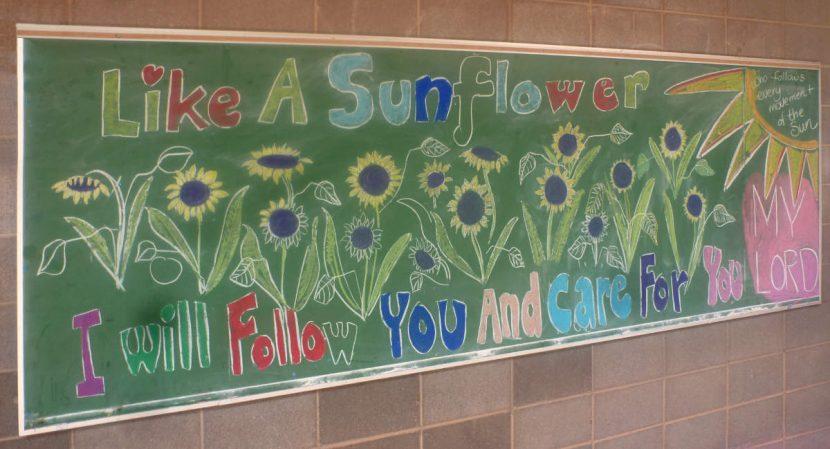 Zuni St Anthony Mission School 4th grade class chalkboard
