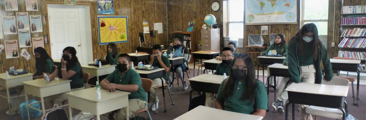 Waiting to learn at St. Anthony's School - Zuni