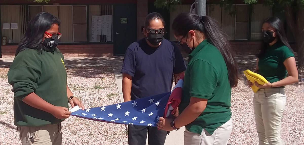 Folding of the American Flag at Zuni St. Anthony School