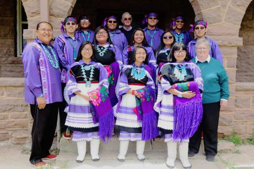 St. Anthony Zuni Mission School Graduates with Teacher and Principal